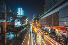 THAILAND, BANGKOK- Night Bangkok. Street Thanon Ratchaprarop Stock Photography