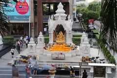 Visiting Ganesh Shrine in Bangkok royalty free stock image