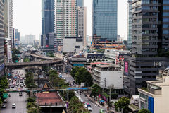 Thailand Bangkok Skyscrapers Buildings Houses Streets Skytrain S. Ome Skies Stock Image