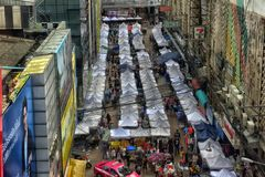 Street market with many tents Stock Photo