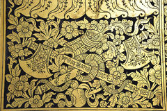 Thailand Bangkok Wat Pho Temple golden paintings. In Thailand, in Bangkok the Wat Pho is the most famous Buddhist temple. The temple is known as Wat Phra Stock Photo