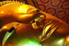 Thailand Bangkok Wat Pho Temple reclining Buddha. In Thailand, in Bangkok the Wat Pho is the most famous Buddhist temple. The temple is known as Wat Phra Royalty Free Stock Image