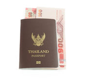 Thailand banknote and passport Royalty Free Stock Photos