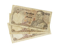 Thailand banknotes 10 baht year 1978. Isolated on white background royalty free stock images