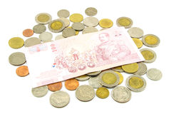 Thailand banknotes and coins Royalty Free Stock Photography