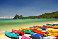 Thailand beach. Beautiful beach and mountain landscape in phi phi island, phuket, Thailand Stock Image