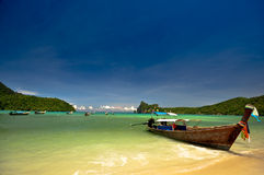 Thailand beach. Beautiful long tail boat in phi phi island, phuket, Thailand Stock Images