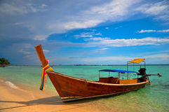 Thailand beach. Traditional long tail boat in phi phi island , Phuket, Thailand Stock Images