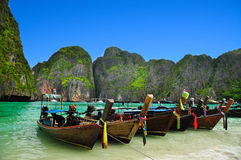 Thailand beach. Beautiful long tail boats in phi phi island, phuket, Thailand Royalty Free Stock Image
