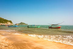 Thailand beach with colorful traditional boats Stock Image