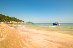 Thailand beach with colorful traditional boats Stock Images