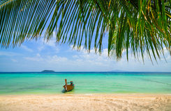 Thailand beach exotic island and long boat. Tropical paradise Stock Photos