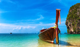 Thailand beach landscape tropical background. Asia ocean nature. And wooden boat Royalty Free Stock Images