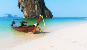 Thailand beach landscape tropical background. Asia ocean nature. And wooden boat stock photo