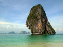 Thailand beach with limestone cliff island. Beach in thailand with limestone cliff island stock photo