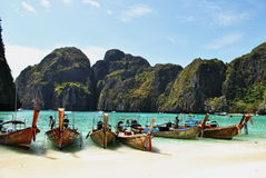 Thailand. Beach Maya Bay. Boats on the ocean. Stock Photos