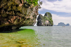 Thailand Beach Temple Rocks Krabi Stock Photos