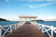 Thailand beach wooden bridge Stock Images
