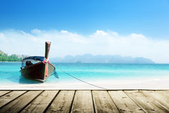 Thailand beach and wooden pier Royalty Free Stock Photo