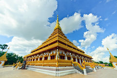 Thailand Bhudda temple golden Stupa Khonkaen landmark,Temple Sunset in Khon Kaen Stock Image