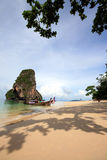 Thailand boat and sea in blue sky Stock Photos