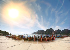 Thailand boats among sea Stock Photography