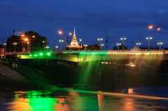 Thailand Bridge. At night light Royalty Free Stock Photos