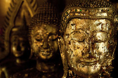 Thailand Buddha head gold leaf Royalty Free Stock Photography