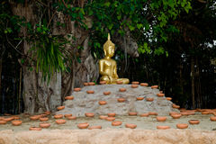 Thailand Budhist Budha, ready for candle lit ceremony. Stock Photo