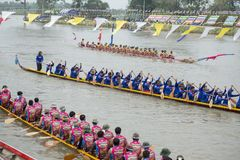 THAILAND BURIRAM SATUEK LONGBOAT RACE. The tradititional Longboat Race at the Mun river of the town of Satuek north of the city Buri Ram in Isan in Northeast Royalty Free Stock Image