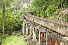Thailand-Burma Death railway follows the bents of the river Kwai, Kanchanaburi, Thailand. Stock Photo
