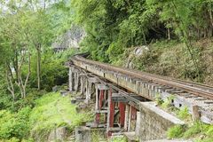 Thailand-Burman dödjärnvägen följer böjelserna av floden Kwai, Kanchanaburi, Thailand Arkivbild