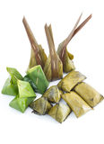 Thailand candy wrapped in banana leaves. Isolated on white background Stock Photography