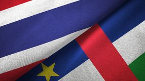 Thailand and Central African Republic two flags textile fabric texture royalty free illustration