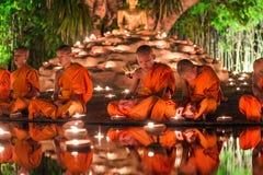 Thailand, Chiang-MAI 06,2015 Juni - Visakha Puja Day, cerem Royalty-vrije Stock Fotografie