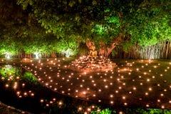Thailand Chiang Mai Juni 06,2015 - Visakha Puja Day, ceremen Arkivbilder