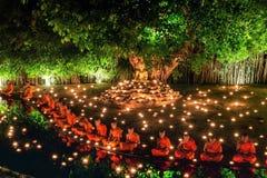 Thailand Chiang Mai Juni 06,2015 - Visakha Puja Day, ceremen Royaltyfri Fotografi