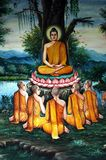 Thailand, Chiang Mai: Temples. Thailand, Chiang Mai: A painting wall representing the life of Buddha Royalty Free Stock Photography