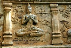 Thailand, Chiang Mai: Temples. Thailand, Chiang Mai: Chedi Luang  is one of the oldest buddhist temples in the city. Architectural detail with carved figures Royalty Free Stock Photos