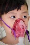 Thailand children had sick respiratory. Little Thailand children had sick and taking inhaled oxygen Royalty Free Stock Image
