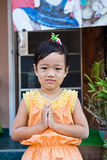 Thailand children sawaddee Stock Photo