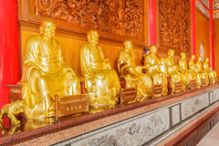 Row of buddha chinese temple at Wat Leng Noei Yi i Stock Images
