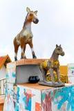 Thailand. Chinese Zodiac Statues In Koh Samui. Travel, Tourism. Thailand. Closeup Of Chinese Zodiac Animals Statues Of Horses In Koh Samui. Travel To Asia stock photos