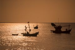 THAILAND CHONBURI BANGSAEN FISHINGBOAT COAST. Fishing boat at the Bang Saen Beach at the Town of Bangsaen in the Provinz Chonburi in Thailand.  Thailand Royalty Free Stock Photography