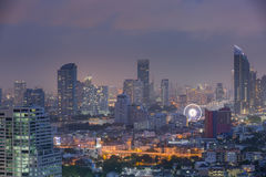 Thailand cityscape. Bangkok, the capital city of Thailand with the warm tone from the sun Royalty Free Stock Image