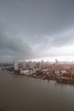 Thailand cityscape. Chaophraya river along side the Bangkok city with cloudy sky Stock Images