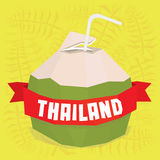 Thailand coconut cocktail postcard Royalty Free Stock Images