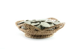 Thailand coins in basket bamboo Royalty Free Stock Photo
