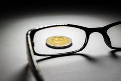 Thailand coins and glasses. Stock Photos