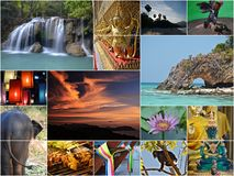 Thailand collage. Photos collage of beautiful places taken in Thailand Stock Photos